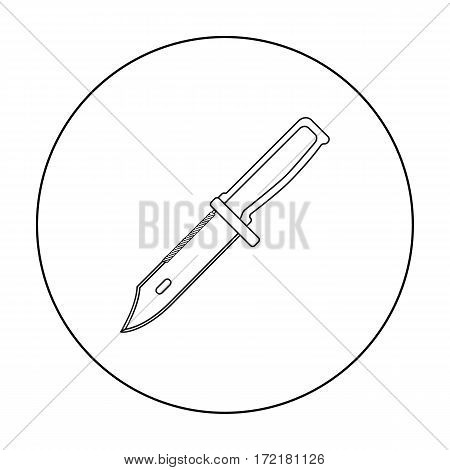 Military combat knife icon in outline isolated on white background. Military and army symbol stock vector illustration