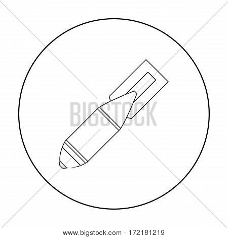 Military aerial bomb icon in outline style isolated on white background. Military and army symbol vector illustration