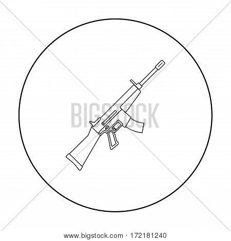 Military assault rifle icon in outline style isolated on white background. Military and army symbol vector illustration