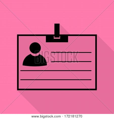 Id card sign. Black icon with flat style shadow path on pink background.