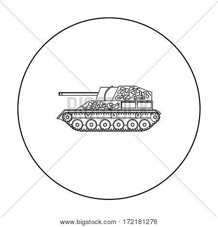 Military tank icon in outline style isolated on white background. Military and army symbol vector illustration