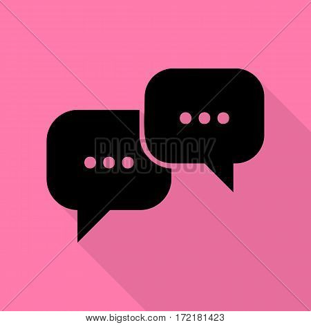 Speech bubbles sign. Black icon with flat style shadow path on pink background.