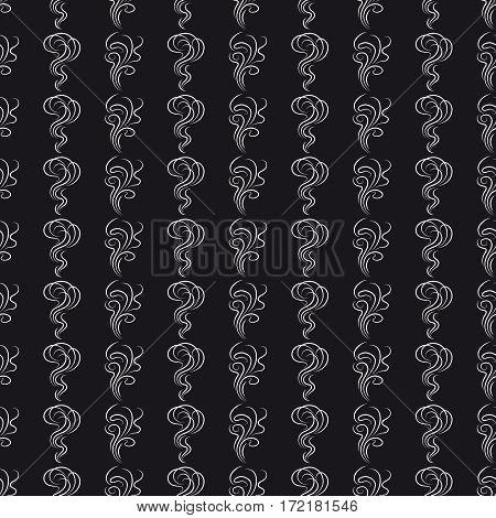 Monochromic seamless pattern with white smoke smells on black backdrop. Vector illustration