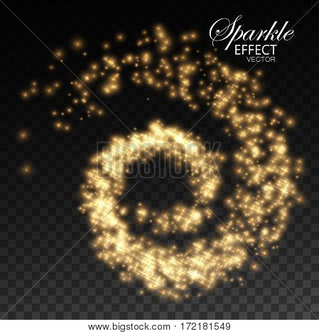 Glowing trail of golden sparkling star particles. Spiral stream of sparkling fire glitters. Decoration holiday element for design. Festive ornament