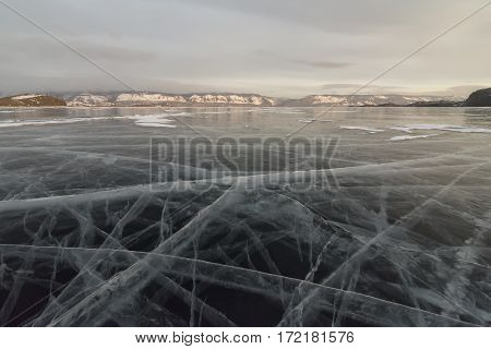 The vast expanses of ice in Lake Baikal