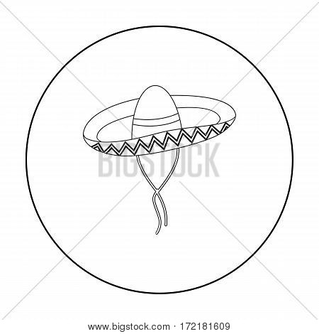 Mexican sombrero icon in outline style isolated on white background. Mexico country symbol vector illustration.