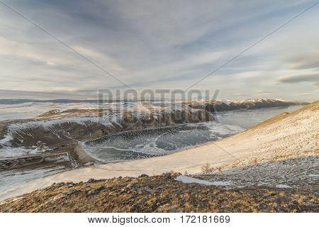 Beautiful rock on the lake Baikal in winter