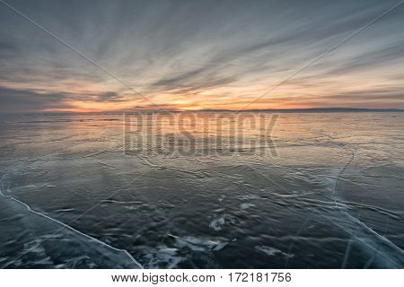 Sunrise on the lake Baikal in winter