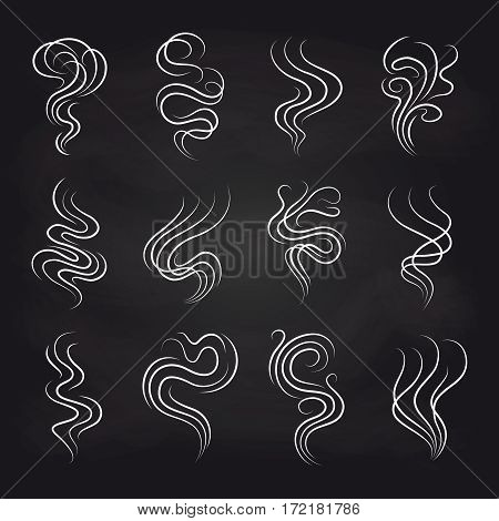 White smoke smell line icons on blackboard background. Vector illustration