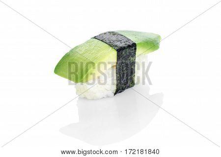 Sushi with avocado, rice, nori, avocado on a white background