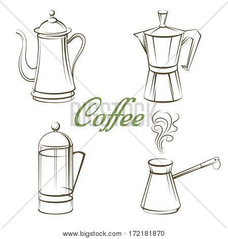 Coffee pot and sign coffee isolated on white background. Vector illustration