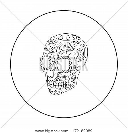 Mexican calavera skull icon in outline style isolated on white background. Mexico country symbol vector illustration.