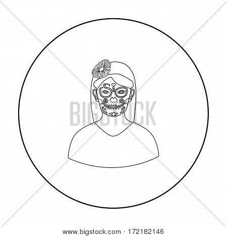 Mexican woman with calavera make up icon in outline style isolated on white background. Mexico country symbol vector illustration.