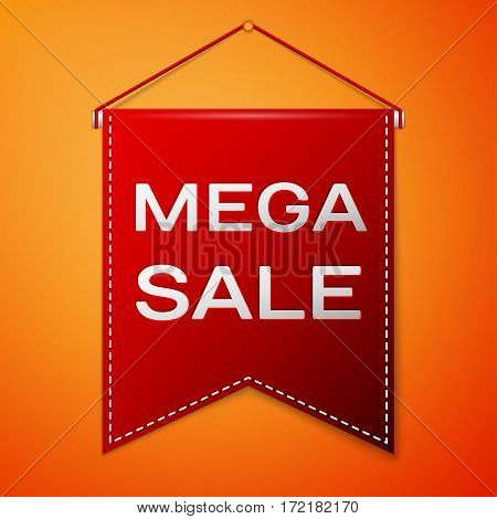 Red pennant with inscription MEGA SALE over a orange background. Sale concept for shops store market, web and other commerce. Vector illustration.