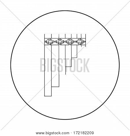 Mexican pan flute icon in outline style isolated on white background. Mexico country symbol vector illustration.