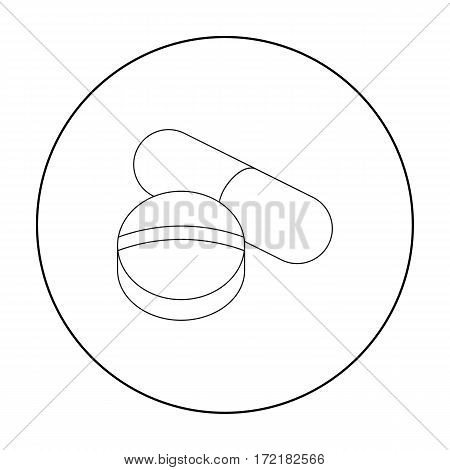 Pill icon outline. Single medicine icon from the big medical, healthcare outline.