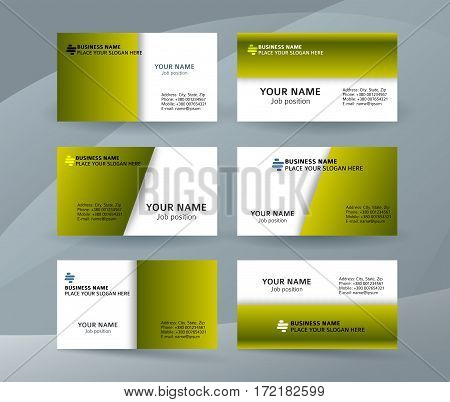 Set Of Simple Pattern Business Card Layout Sided Green02
