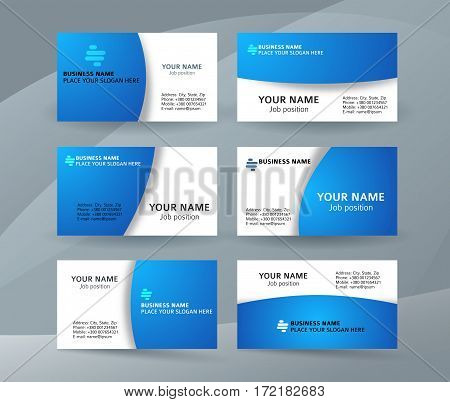 Set Of Simple Pattern Business Card Layout Sided Blue03
