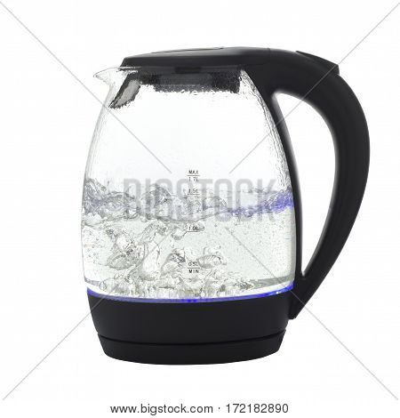 Glass electric kettle on a white background is insulated.