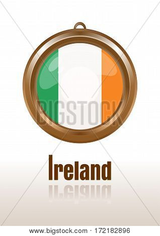 Flags of Ireland in the form of circular pendants. Ireland, Eire, Erin, Emerald Isle.  Irish flag. Medallion with the flag of Ireland. Vector Irish flag icon. Vector illustration