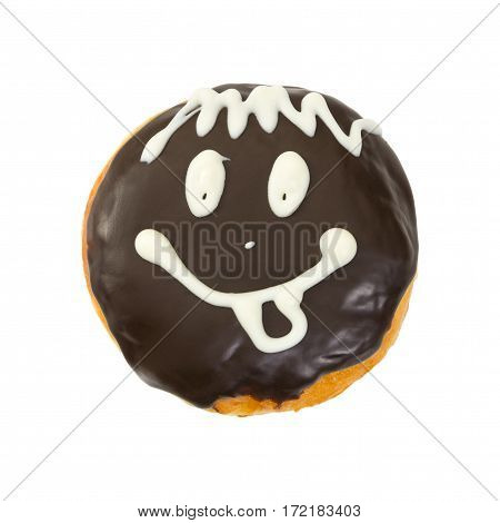 Berliner Donut With Chocolate Icing And Smile