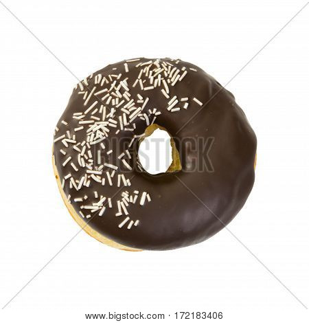 Donut With Chocolate Icing Isolated On White Background.