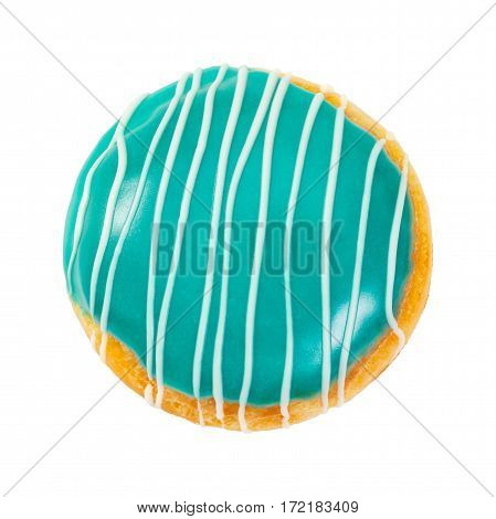 Berliner Donut Turquoise Color With White Stripes