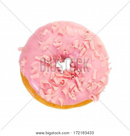 Strawberry Donut With Pink Glazes And Pink Chocolate Chips