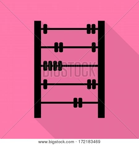 Retro abacus sign. Black icon with flat style shadow path on pink background.