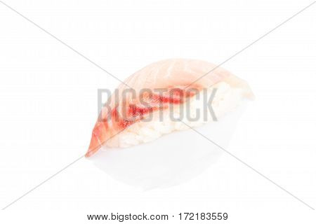 Sushi with snapper and spicy sauce on a white background