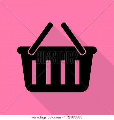 Shopping basket sign. Black icon with flat style shadow path on pink background.