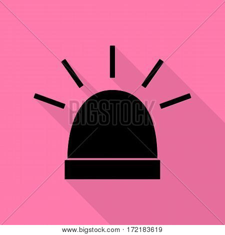 Police single sign. Black icon with flat style shadow path on pink background.