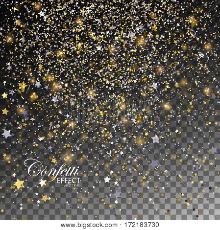 Confetti Glitters and Stars. Vector Festive Illustration of Falling Shiny Stars. Sparkling Tinsel Texture Isolated on Transparent Checkered Background. Holiday Christmas Decoration Element for Design