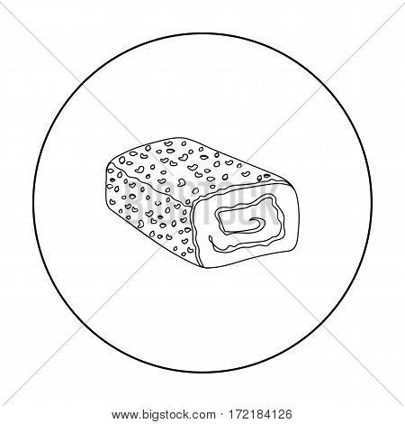 Meatloaf icon in outline style isolated on white background. Meats symbol vector illustration