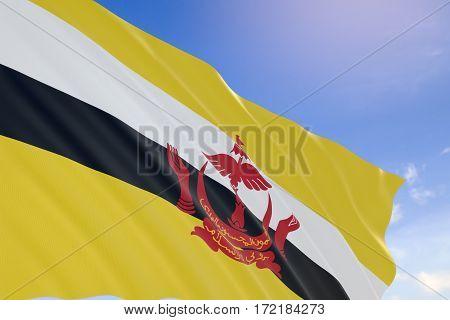 3D Rendering Of Brunei Flag Waving On Blue Sky Background