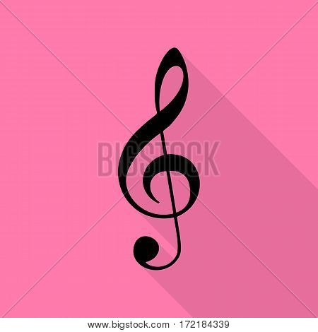Music violin clef sign. G-clef. Treble clef. Black icon with flat style shadow path on pink background.