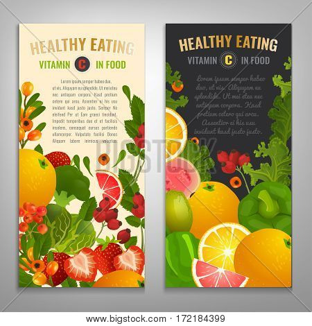Vitamin C in food. Beautiful vector illustration with different vegetabes, fruits and berries with a copyspace. Portrait banners or posters set in bright colours.
