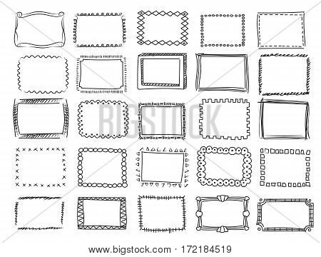 Simple doodle, sketch square frames Pencil effect collection and hand drawn black borders on white background