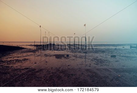 Beautiful sunset on the seashore of Whitstable, Kent, UK