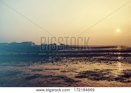 Beautiful sunset on the seashore of Whitstable, Kent, UK