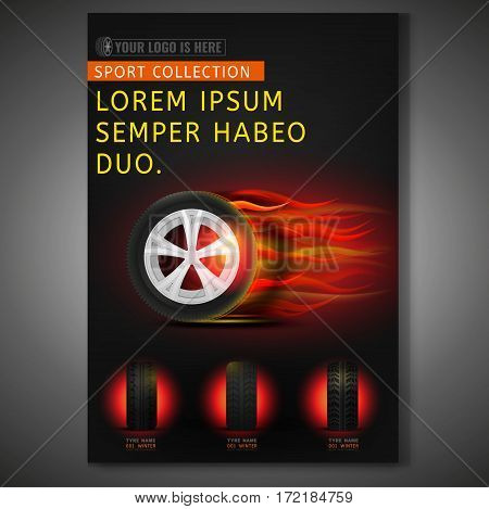 Vector burning tyre poster template. Modern idea for flyer, book, booklet, brochure and leaflet design. Editable vertical graphic layout with copyspace in dark red and black colors