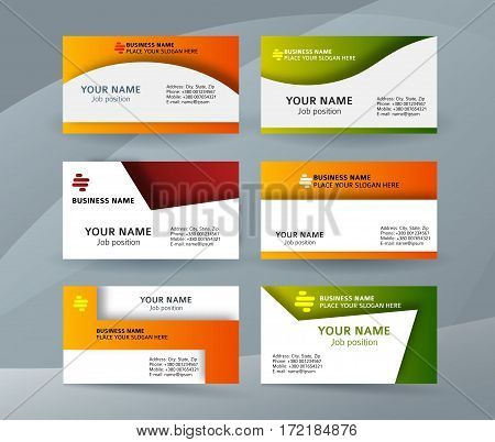 Set Template Business Card Layout Sided04
