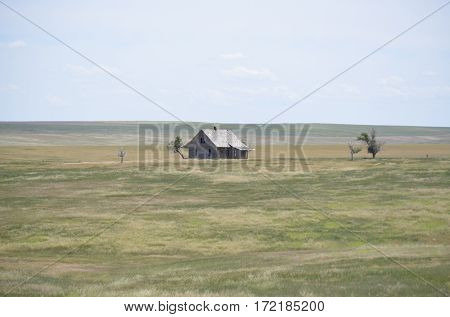 Lone abandoned and vintage home on the open windswept prairie grassland in the dry summer heat