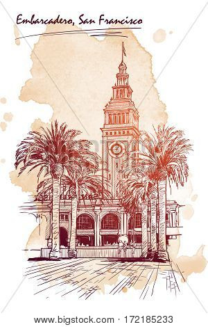 Panorama of the Embarcadero Ferry building in San Francisco and palm tree alley. Cityscape, urban hand drawing. Sketch on grunge spot background. EPS10 vector illustration.