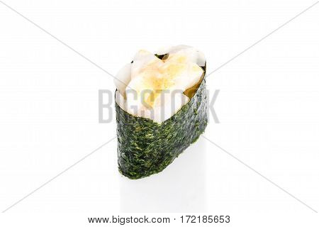 Gunkan Sushi with squid and spicy eel sauce on a white background