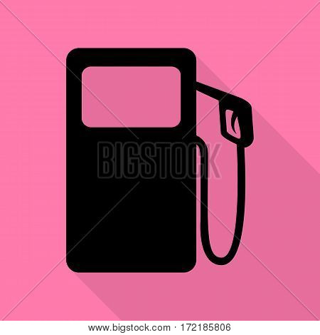 Gas pump sign. Black icon with flat style shadow path on pink background.