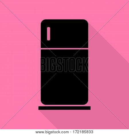Refrigerator sign illustration. Black icon with flat style shadow path on pink background.