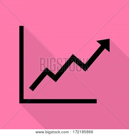 Growing bars graphic sign. Black icon with flat style shadow path on pink background.
