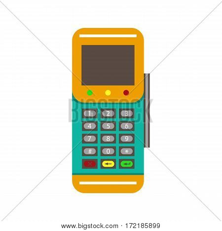 POS terminal flat vector icon. Vector illustration