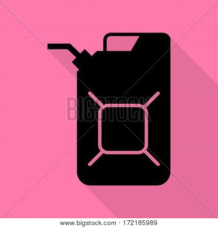 Jerrycan oil sign. Jerry can oil sign. Black icon with flat style shadow path on pink background.